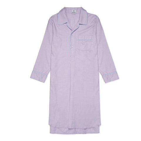 Budd Sleepwear | Cotton and Cashmere Herringbone Nightshirt | Lilac | Budd Shirtmakers | Made in England