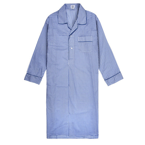 Budd Sleepwear | Batiste Check Nightshirt | Royal | Budd Shirtmakers | Made in England