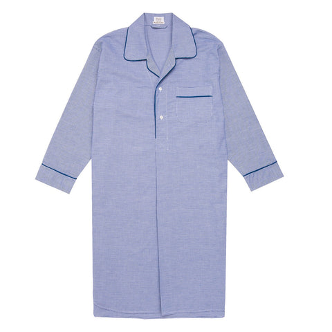 Budd Sleepwear | Puppytooth Brushed Cotton Nightshirt | Royal | Budd Shirtmakers | Made in England