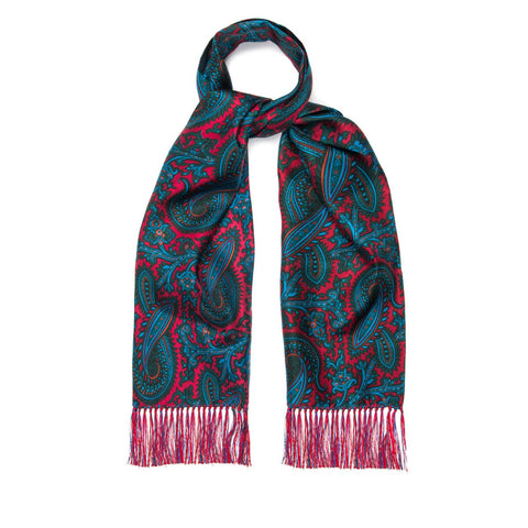 Budd Scarf | Tuxedo Scarf | Oversize Paisley Madder Scarf | 40 Oz | Pure Silk | Red | Budd Shirtmakers | Made in England