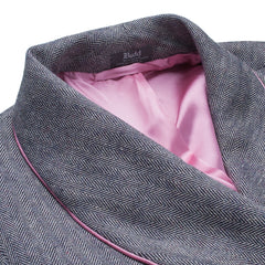 Budd Sleepwear | Herringbone Silk and Wool Dressing Gown | Pink | Budd Shirtmakers | Made in England-Dressing Gown-Sterling-and-Burke