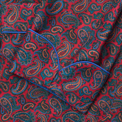 Budd Medium Repeat Paisley 36oz Madder Silk Dressing Gown in Red-Dressing Gown-Sterling-and-Burke