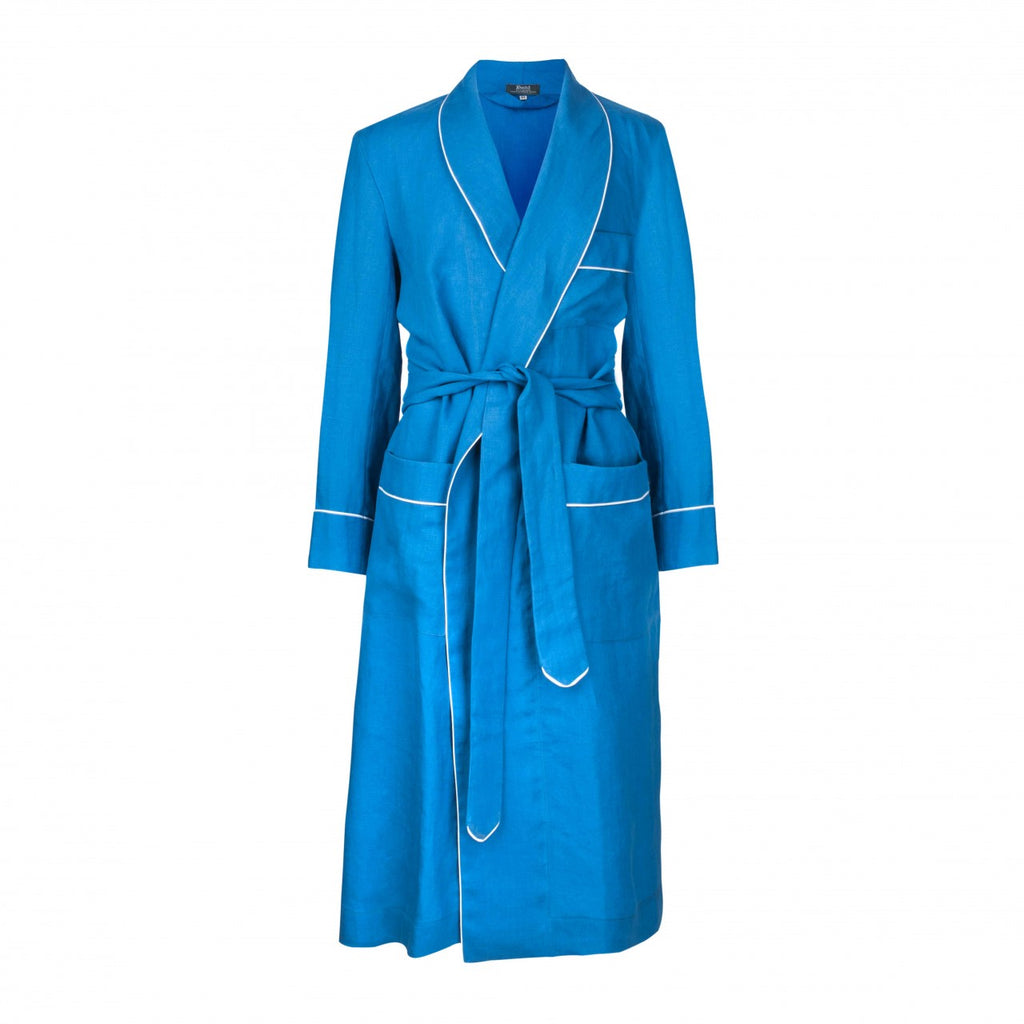 Budd Sleepwear | Exclusive Linen Dressing Gown | Cobalt | Budd Shirtmakers | Made in England-Dressing Gown-Sterling-and-Burke