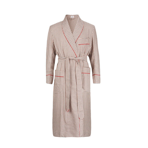 Budd Sleepwear | Bold Check Brushed Cotton Dressing Gown | Red | Budd Shirtmakers | Made in England