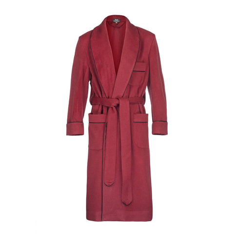 Budd Sleepwear | Cashmere Dressing Gown | Red | Budd Shirtmakers | Made in England-Dressing Gown-Sterling-and-Burke