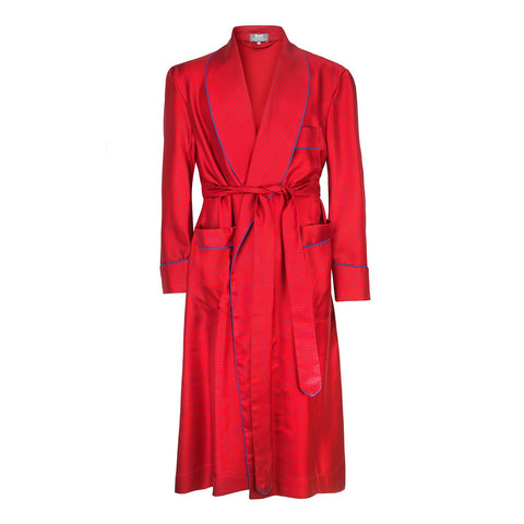 Budd Sleepwear | Small Spot Silk Dressing Gown | 50oz Silk Dressing Gown | Red | Budd Shirtmakers | Made in England