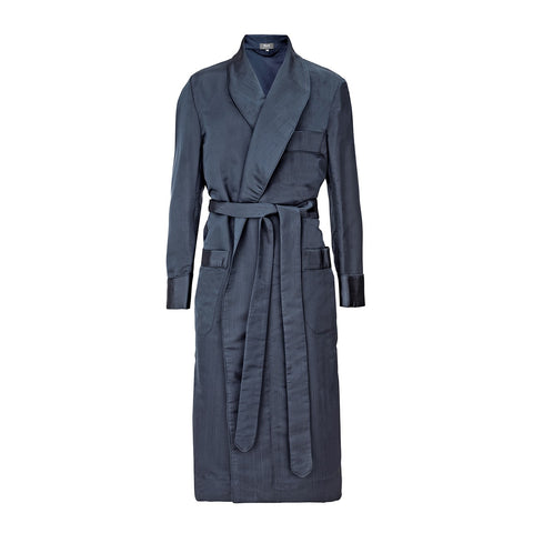 Budd Sleepwear | Moire Silk Dressing Gown | Silk Dressing Gown | Navy | Budd Shirtmakers | Made in England