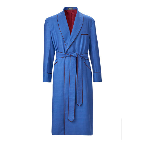 Budd Sleepwear | Plain Silk and Linen Lined Dressing Gown | Silk Dressing Gown | Blue | Budd Shirtmakers | Made in England