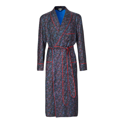 Budd Medium Repeat Paisley 36oz Madder Silk Dressing Gown in Navy