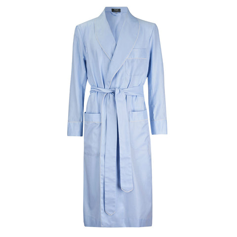 Budd Sleepwear | Fine Twill Dressing Gown | Sky Blue | Budd Shirtmakers | Made in England