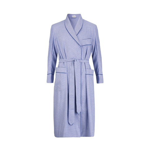 Budd Sleepwear | Puppytooth Brushed Cotton Dressing Gown | Royal | Budd Shirtmakers | Made in England
