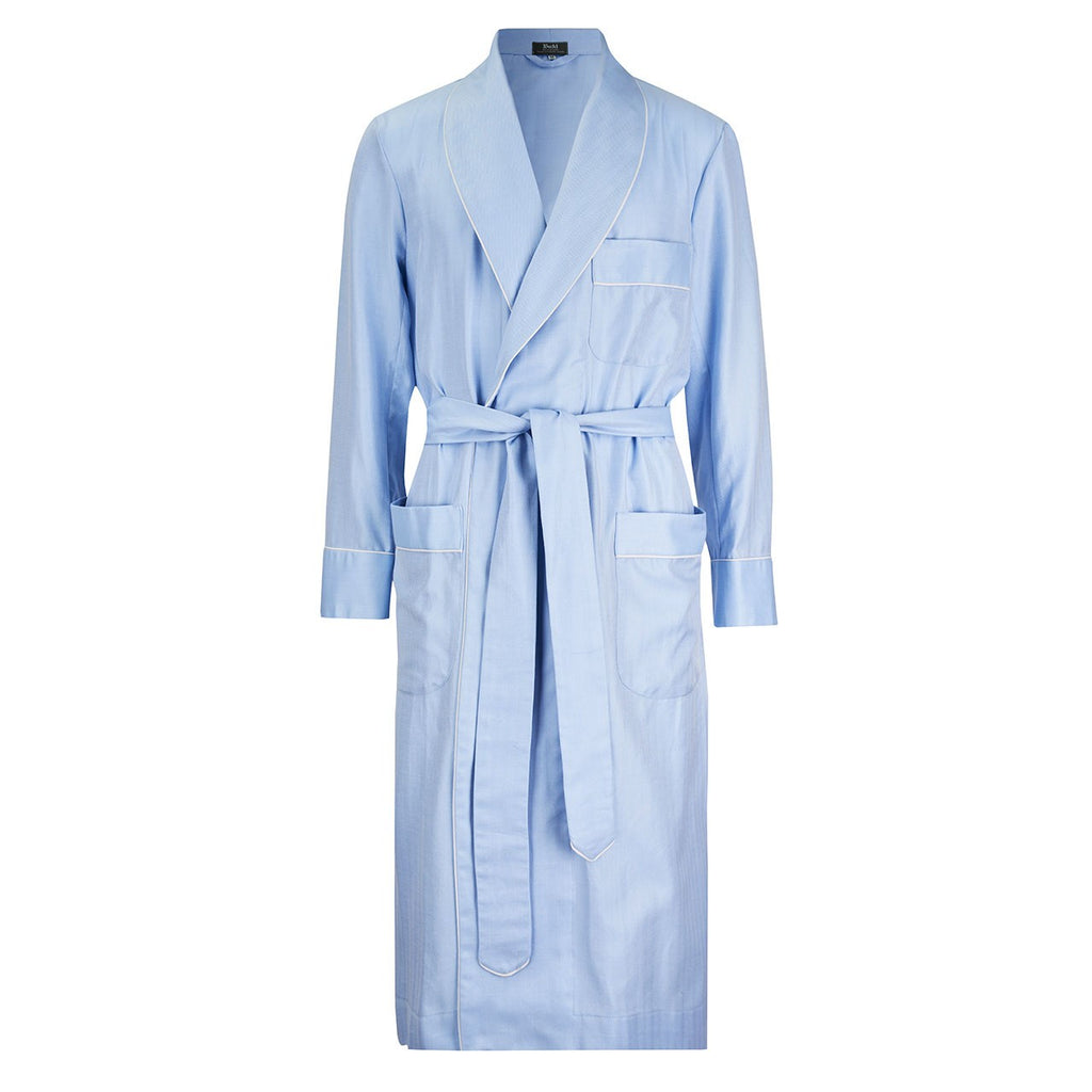 Budd Sleepwear | Herringbone Twill Dressing Gown | Sky Blue | Budd Shirtmakers | Made in England-Dressing Gown-Sterling-and-Burke