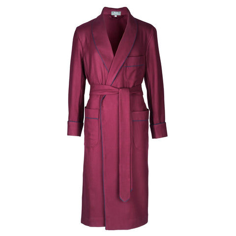 Budd Sleepwear | Wool Dressing Gown | Burgundy and Navy | Budd Shirtmakers | Made in England-Dressing Gown-Sterling-and-Burke