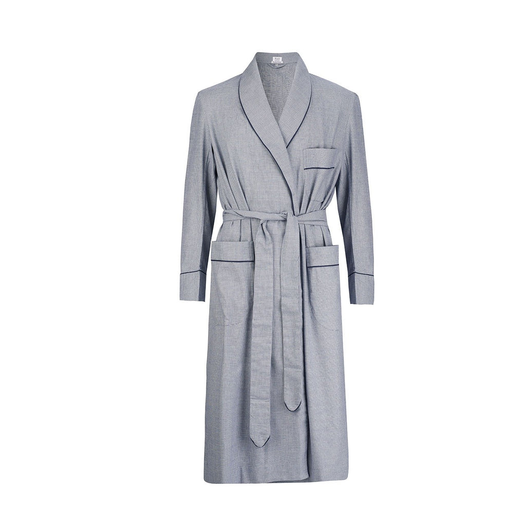 Budd Sleepwear | Prince Of Wales Check Brushed Cotton Dressing Gown | Navy | Budd Shirtmakers | Made in England-Dressing Gown-Sterling-and-Burke