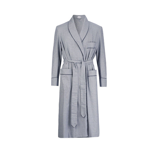Budd Sleepwear | Prince Of Wales Check Brushed Cotton Dressing Gown | Navy | Budd Shirtmakers | Made in England
