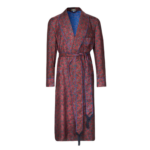 Budd Medium Repeat Paisley 36oz Madder Silk Dressing Gown in Red