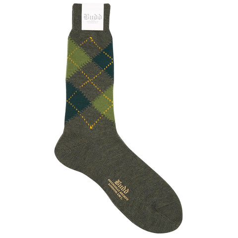 Budd Socks | Argyle Wool Short Socks | Green | Budd Shirtmakers | Made in England