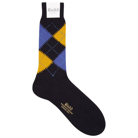 Budd Socks | Argyle Wool Short Socks | Dark Navy and Blue | Budd Shirtmakers | Made in England