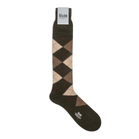 Budd Argyle Wool Long Socks in Olive Green