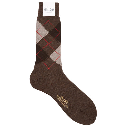 Budd Socks | Argyle Wool Short Socks | Brown | Budd Shirtmakers | Made in England