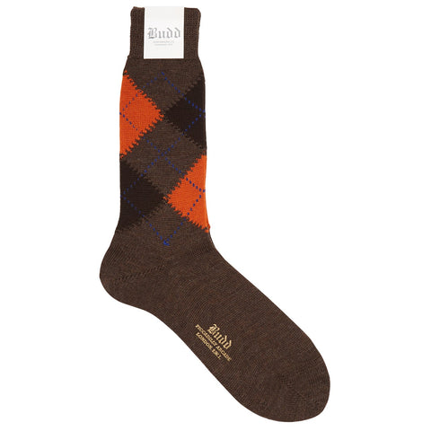 Budd Argyle Wool Short Socks in Brown & Orange
