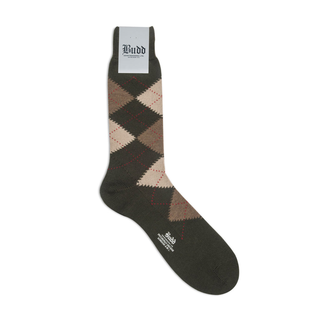 Budd Socks | Argyle Wool Short Socks | Olive Green | Budd Shirtmakers | Made in England-Socks-Sterling-and-Burke