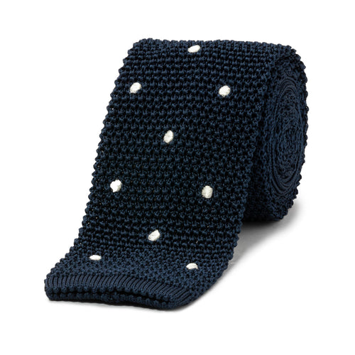 Budd Knit Spot Silk Tie in Navy and White-Necktie-Sterling-and-Burke