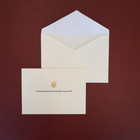 Bespoke Stationery | Gift Card and Envelope Set | Gold Eagle Seal and Text | Hand Engraved | Sterling and Burke Ltd-Custom Stationery-Sterling-and-Burke