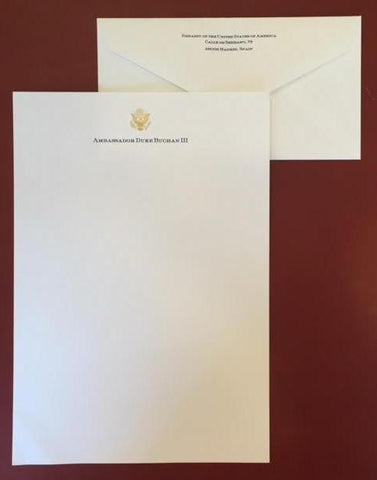 Bespoke Business Stationery | Gold Seal and Text | Monarch Sheet and Envelope Set | Hand Engraved | Sterling and Burke Ltd-Stationery-Sterling-and-Burke