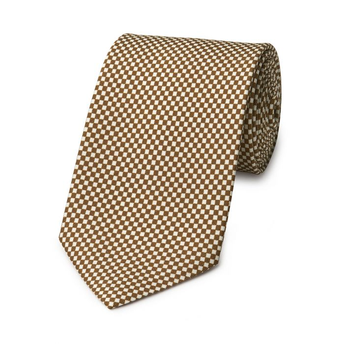 Budd Checkerboard Hopsack Silk Tie in Brown and Cream-Necktie-Sterling-and-Burke