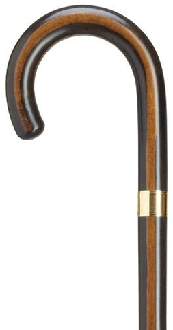 Maple Crook Handle Cane / Walking Stick | Elegant Cane with Gold Band | Made in USA