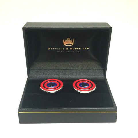 Captain America Cufflinks | Red, Blu, and White | Sterling and Burke-Cufflinks-Sterling-and-Burke