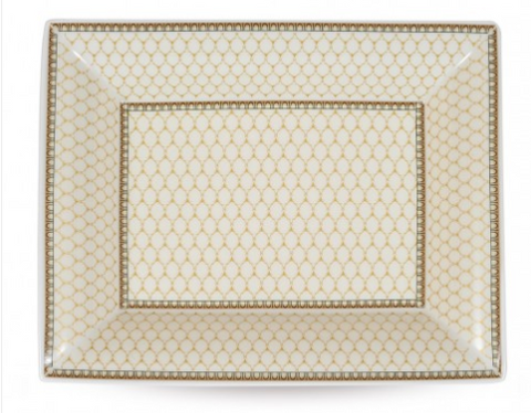 Halcyon Days Antler Trellis Trinket Tray in Ivory, Rectangular-Bone China-Sterling-and-Burke