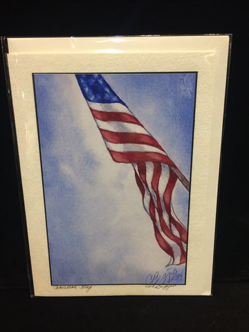 American Flag | Print Card | 5 by 7 Inches | Artist Carole Moore Biggio-Greeting Cards-Sterling-and-Burke