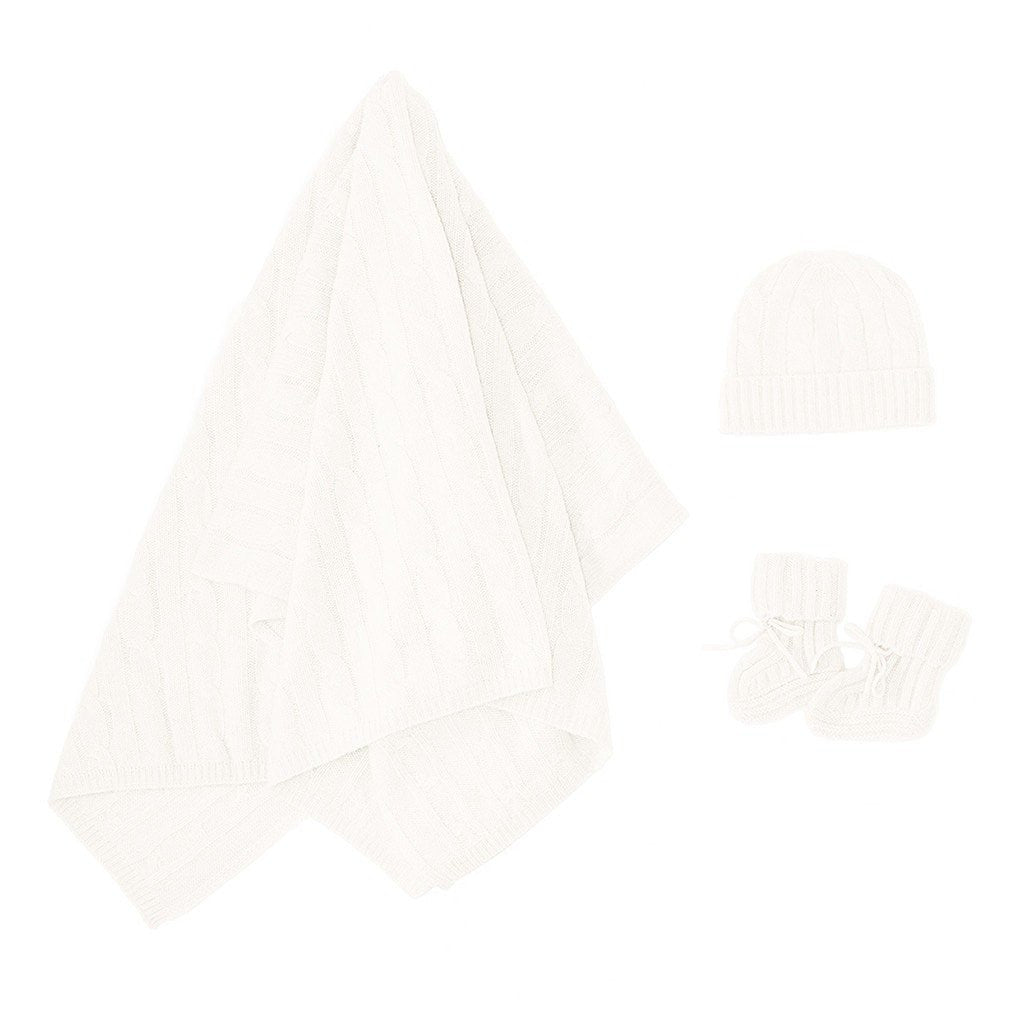 White Baby Cashmere Blanket Set Pure Luxury by Sterling & Burke Cashmere-Baby-Sterling-and-Burke
