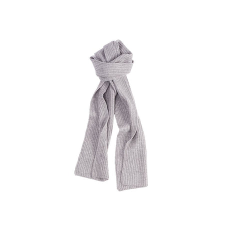 Cashmere Scarf | Thick and Wonderful | Ribbed | Light Grey-Gloves-Sterling-and-Burke