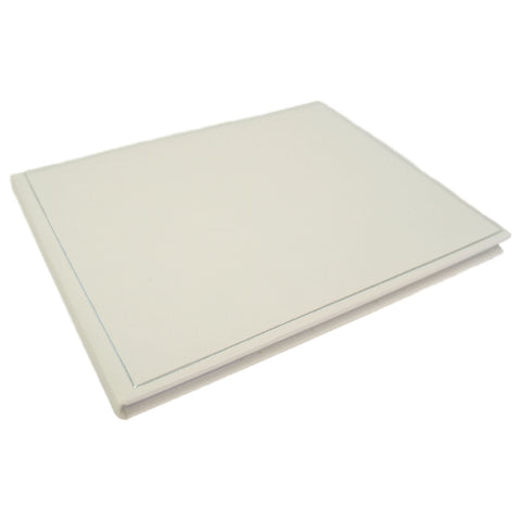 Wedding Guest Book | Wedding Gift Book | White Leather with Padding | 7 by 9 Inches | Charing Cross