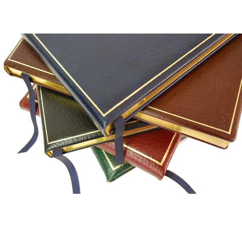 Bespoke Guest Book Album | Large and Thick | Luxury Leather | 10 by 12 Inches | Gilt Edges | Gilt Cover with Personalization | Blank Pages | Made in England | Charing Cross-Guest Book-Sterling-and-Burke