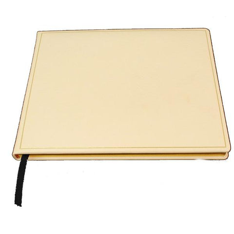 Wedding Guest Book Register | White Leather | 7 by 9 Inches | Name, Date, Address | Made in England | Charing Cross
