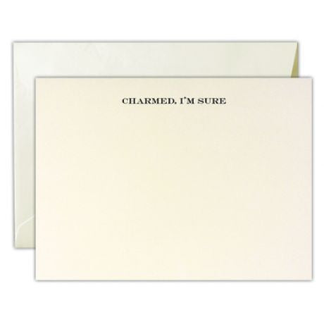 """Charmed, I'm Sure"" Engraved Stationery Set of 3 by Dempsey & Carroll"