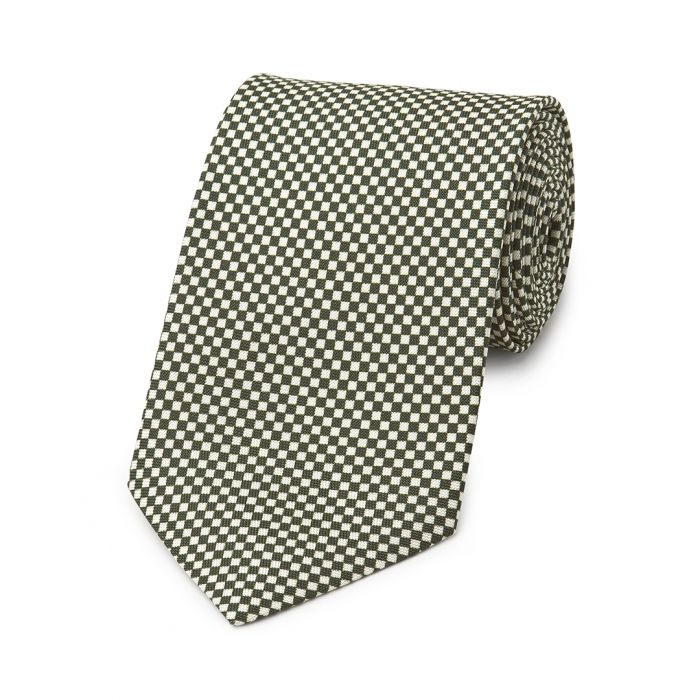 Budd Checkerboard Hopsack Silk Tie in Green and Cream-Necktie-Sterling-and-Burke