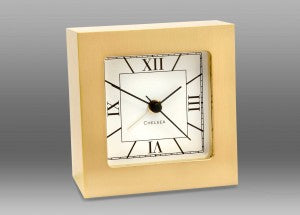 Solid Brass Clock | Square Brass | Alarm Clock | Desk Clock | Chelsea Clock-Clock-Sterling-and-Burke
