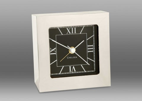 Heavy Nickel Clock | Square Nickel | Alarm Clock | Desk Clock | Chelsea Clock-Clock-Sterling-and-Burke
