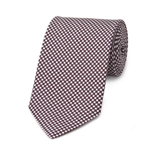 Budd Checkerboard Hopsack Silk Tie in Plum and Cream-Necktie-Sterling-and-Burke