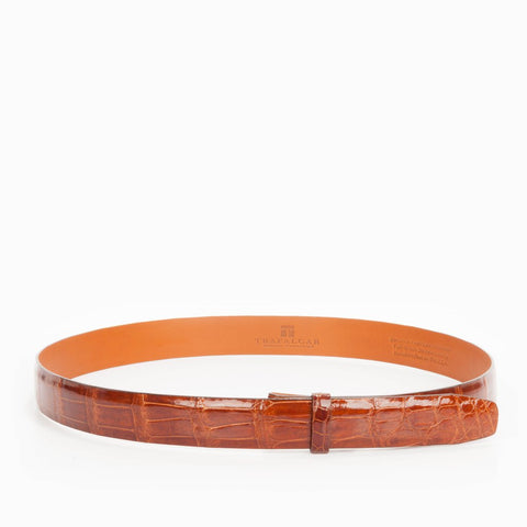 Classic Alligator Belt 1 Inch Belt Strap, Chestnut-Belt Strap-Sterling-and-Burke