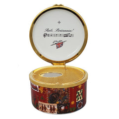 Christmas Enamels | Glorious Christmas Musical Enamel Box | Happy Christmas | Merry Christmas | Holiday Decoration | Holiday and Winter Enamels Decoration | Halcyon Days | Made in England-Musical Enamel Box-Sterling-and-Burke