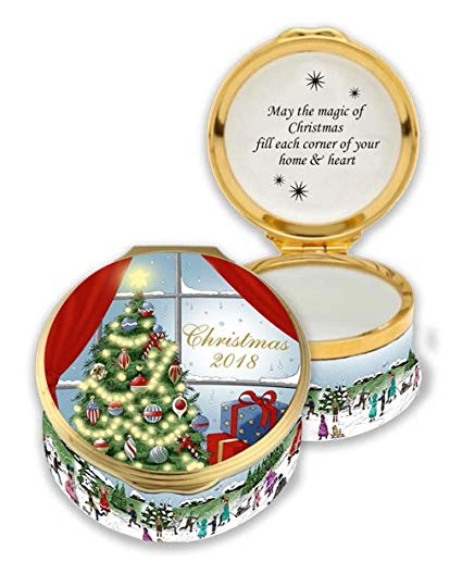 Christmas Enamels | 2018 Christmas Enamel Box | Happy Christmas | Merry Christmas | Holiday Decoration | Holiday and Winter Enamels Decoration | Halcyon Days | Made in England-Enamel Box-Sterling-and-Burke