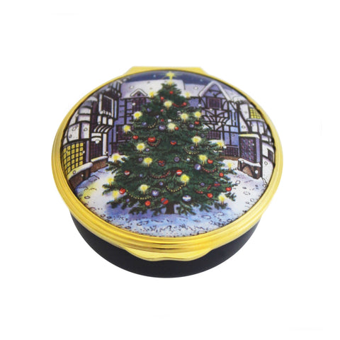 Christmas Enamels | Christmas Tree Enamel Box | Happy Christmas | Merry Christmas | Holiday Decoration | Holiday and Winter Enamels Decoration | Halcyon Days | Made in England