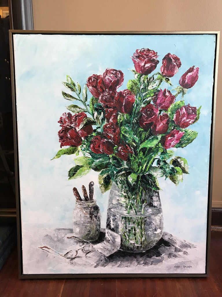 "Art | I Love You | Original Oil Painting by Claire Howard | 30"" x 25""-Oil Painting-Sterling-and-Burke"