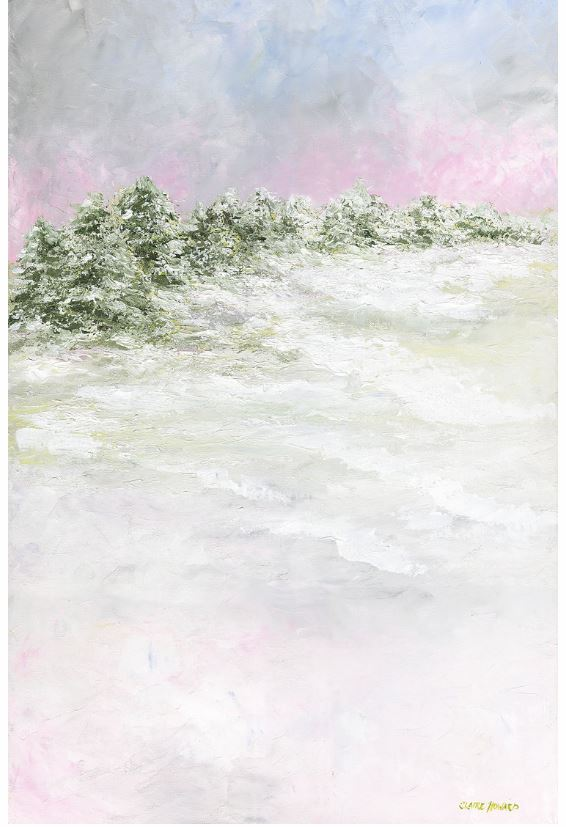 "Art | Pine Lines in the Snow | Original Oil Painting by Claire Howard | 36"" x 24""-Oil Painting-Sterling-and-Burke"
